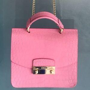 Furla pink Aligator - Like  leather bag